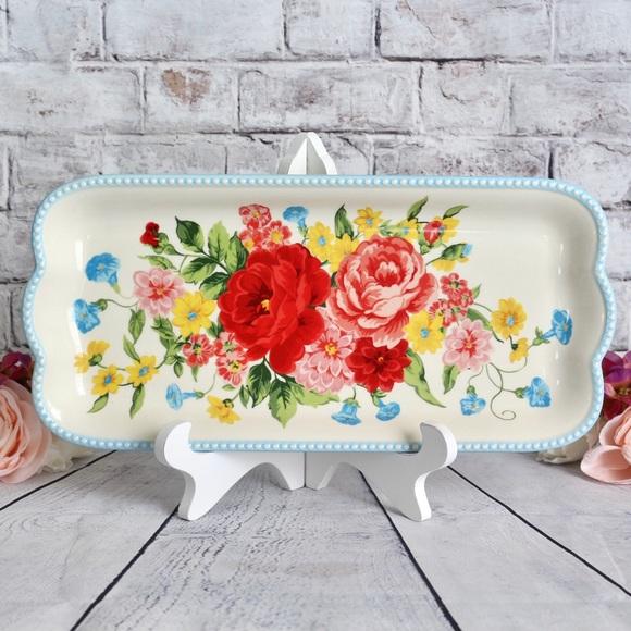 🌹 Pioneer Woman Sweet Rose Floral  Narrow Platter